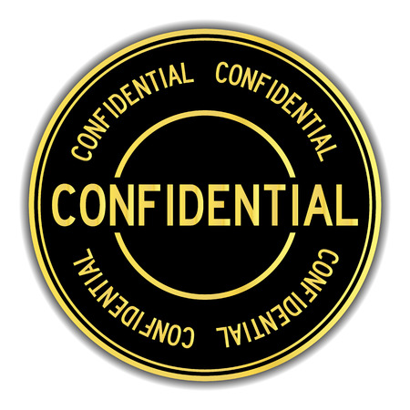 Gold and black color sticker in word confidential on white background