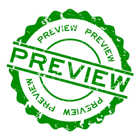 Grunge green preview word round rubber seal stamp on white background Vektorgrafik