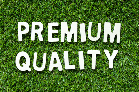 Alphabet letter in word premium on artificial green grass background