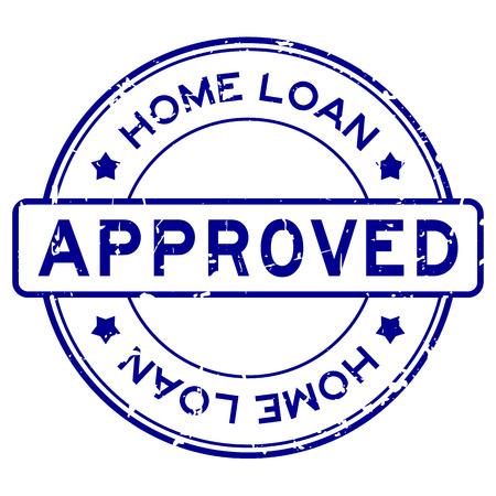 Prêt à domicile bleu grunge approuvé mot rond timbre joint en caoutchouc sur fond blanc Vecteurs