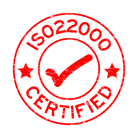 Grunge red ISO 22000 certified with mark icon round rubber seal stamp on white background