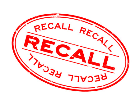 Grunge red recall word oval rubber seal stamp on white background