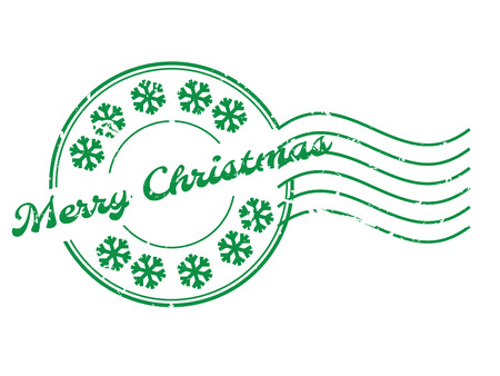 Grunge merry christmass word with sonw flake icon round rubber seal stamp with watermark on white background Çizim
