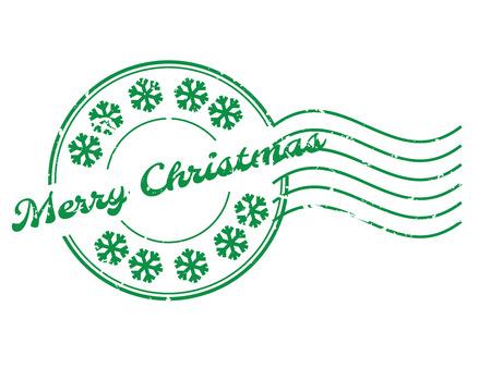 Mot de Noël joyeux grunge avec l'icône de flocon de sonw rond timbre joint en caoutchouc avec filigrane sur fond blanc