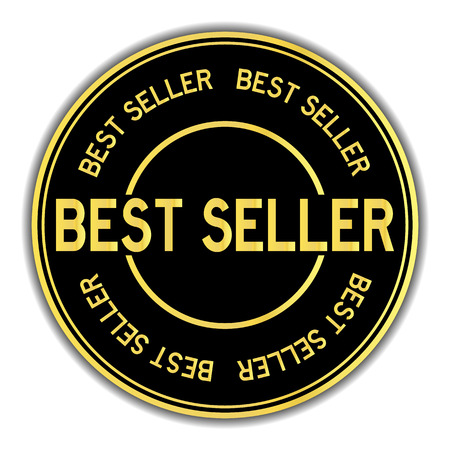Gold and black color sticker in word best seller on white background Banque d'images - 109947549