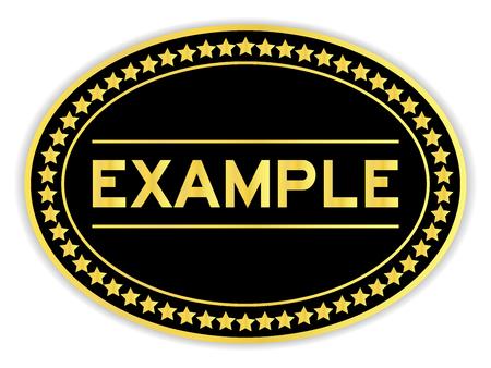 Adesivo ovale color oro e nero con esempio di parola su sfondo bianco
