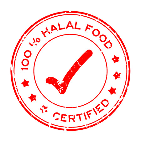 Grunge red 100 percent halal food certified with mark icon round rubber seal stamp on white background