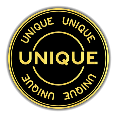 Gold and black color sticker in word unique on white background
