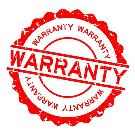 Grunge red warranty word round rubber seal stamp on white background