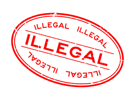 Grunge rode illegale woord ovale rubber zegel stempel op witte achtergrond