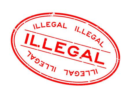 Grunge rotes illegales Wort ovaler Siegelstempel auf weißem Hintergrund