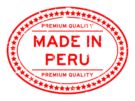 Grunge red premium quality made in Peru oval rubber seal stamp on white background