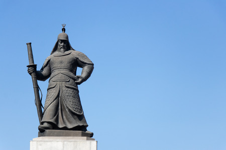 Seoul, South Korea-Nov 4, 2018 : Statue of Admiral Yi Sun-Sin, Korean naval commander, located at Gwanghamun square with blue sky background Editorial