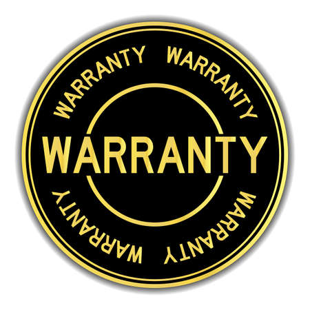 Black and gold color sticker in word warranty on white background 版權商用圖片 - 127651650