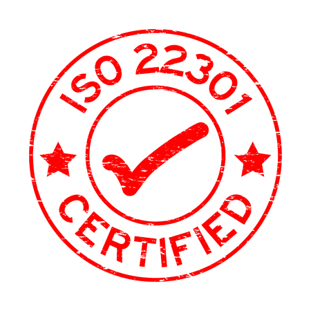 Grunge red ISO 22301 certified round rubber seal stamp on white background Illustration