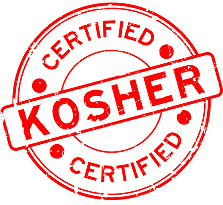 Grunge red kosher certified word round rubber seal stamp on white background
