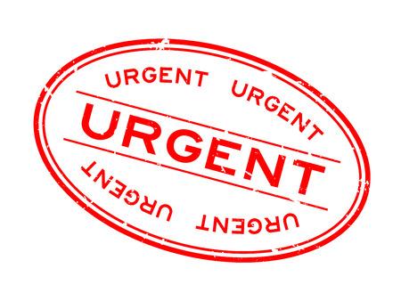 Grunge red urgent word oval rubber seal stamp on white background Illusztráció