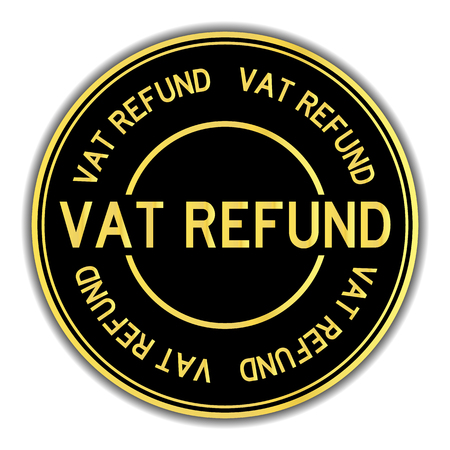 Black and gold color round sticker in word vat refund on white background Illustration