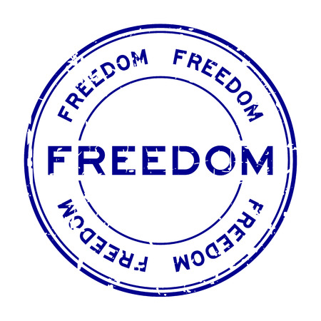 Grunge blue freedom round rubber seal stamp on white background