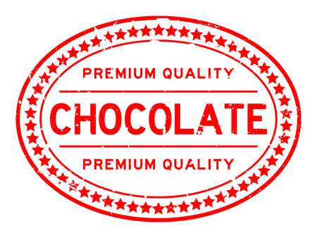 Grunge premium quality chocolate oval rubber seal stamp on white background Ilustrace