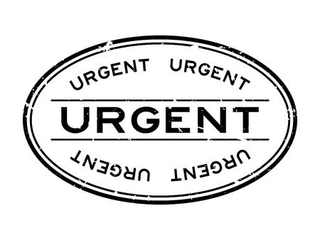 Grunge black urgent word oval rubber seal stamp on white background
