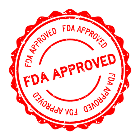 Grunge red FDA approved word round rubber seal stamp on white background  イラスト・ベクター素材