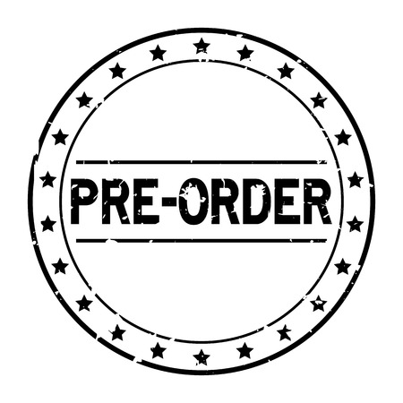 Grunge black pre order word with star icon round rubber seal stamp on white background 免版税图像 - 127097235