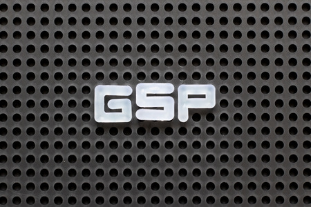 Black color pegboard with white letter in word GSP (Abbreviation of Good Storage Practice or Generalized System of Preferences or Gross State Product) Stock Photo