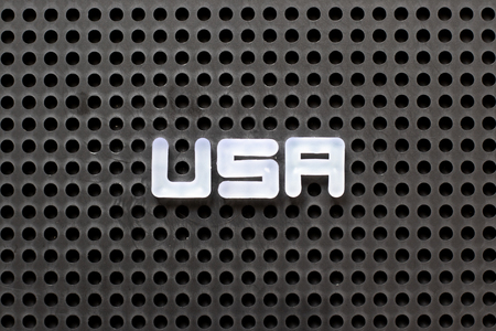 Black color pegboard with white letter in word USA (abbreviation of United States of America) Stock Photo