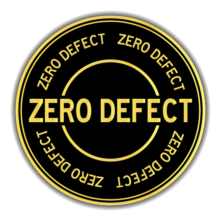 Black and gold color round sticker in word zero defect on white background 矢量图像