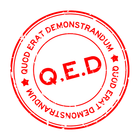 Grunge red Q.E.D. (abbreviation of Quod Erat Demonstrandum) word round rubber seal stamp on white background 矢量图像