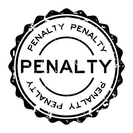 Grunge black penalty word round rubber seal stamp on white background Vectores