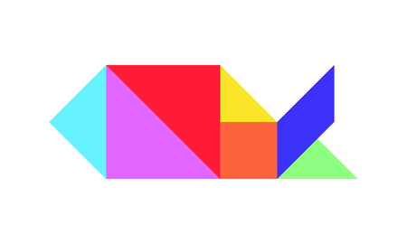 Color tangram puzzle in fish shape on white background (Vector)