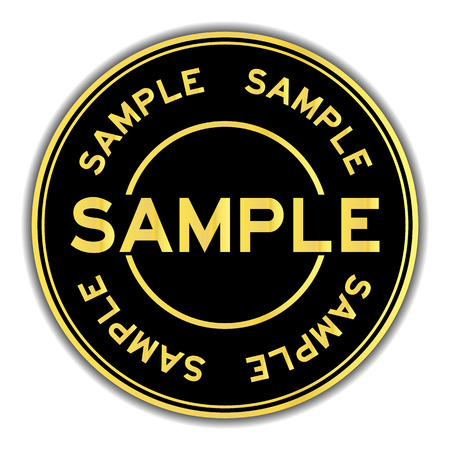 Black and gold color round sticker in word sample on white background