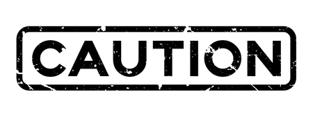 Grunge black caution word square rubber seal stamp on white background