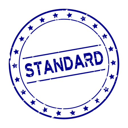 Grunge blue standard word with star icon round rubber seal stamp on white background