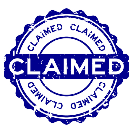 Grunge blue claimed word round rubber seal stamp on white background