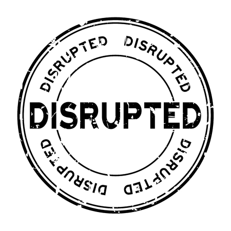 Grunge black disrupted word round rubber seal stamp on white background Ilustração
