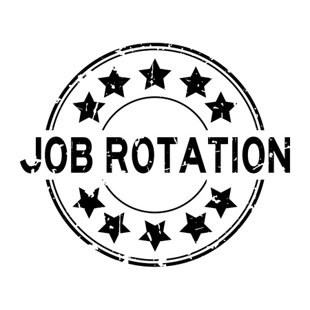 Grunge black job rotation word with star icon round rubber seal stamp on white background