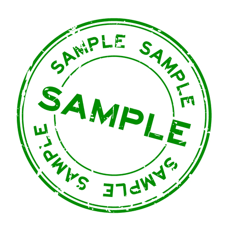 Grunge green sample word round rubber seal stamp on white background