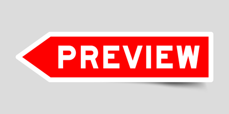 Arrow shape red color label sticker in word preview on gray background