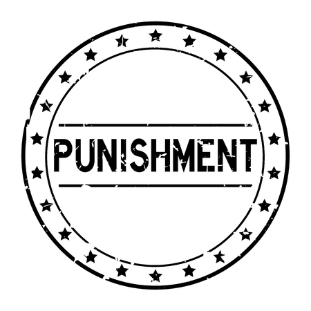 Grunge black punishment word with star icon round rubber seal stamp on white background