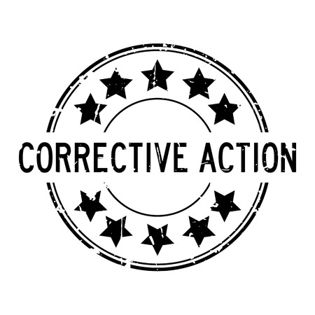 Grunge black corrective action word with star icon round rubber seal stamp on white background