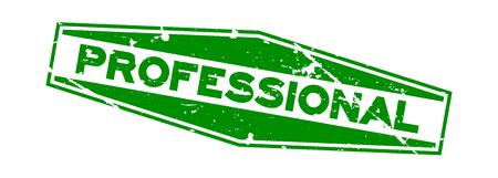 Grunge zielony profesjonalne słowo sześciokątna pieczątka gumowa na białym tle