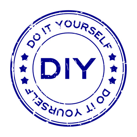 Grunge blue DIY word (Abbreviation of Do it yourself) round rubber seal stamp on white background