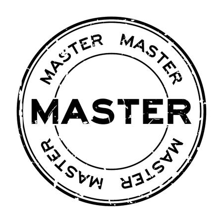 Grunge black master word round rubber seal stamp on white background