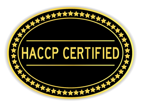 Black and gold color oval sticker in word HACCP (Hazard analysis and critical control points) on white background Çizim