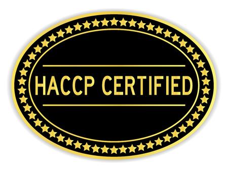 Pegatina ovalada de color negro y dorado en la palabra HACCP (análisis de peligros y puntos críticos de control) sobre fondo blanco.