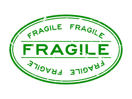 Grunge green fragile word oval rubber seal stamp on white background