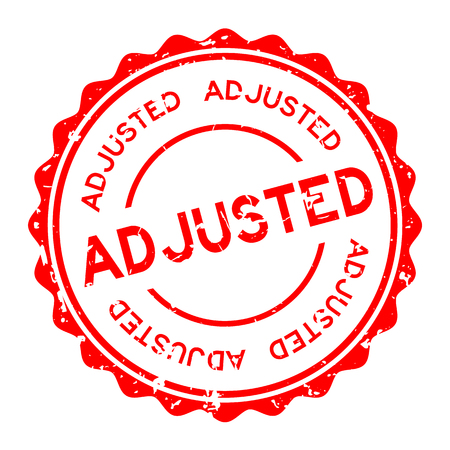 Grunge red adjusted word round rubber seal stamp on white background